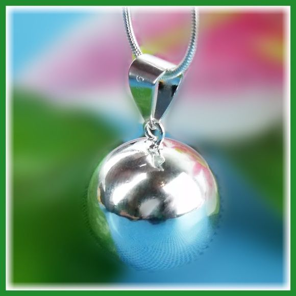 STERLING HARMONY BALL PENDANT & CHAIN HP     Harmonic gentle chime floats from the Bola Ball as you move. Some wear these during pregnancy to provide a soothing sound for the growing baby who is able to hear from the 5th month.  Others wear these for the melodic reminder of mindfulness and harmony.  Others wear them for the unique and elegant style the pendant adds to every outfit.  Jewelry Necklaces