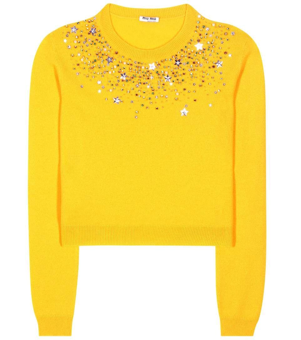 MIU MIU Embellished Cashmere Sweater. #miumiu #cloth #sweater ...