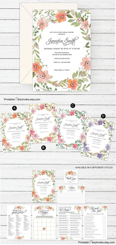 etsy wedding shower invitations Floral bridal shower invitations Printable bachelorette invites Wedding shower invitations WF1 by PrintablePartyInvite