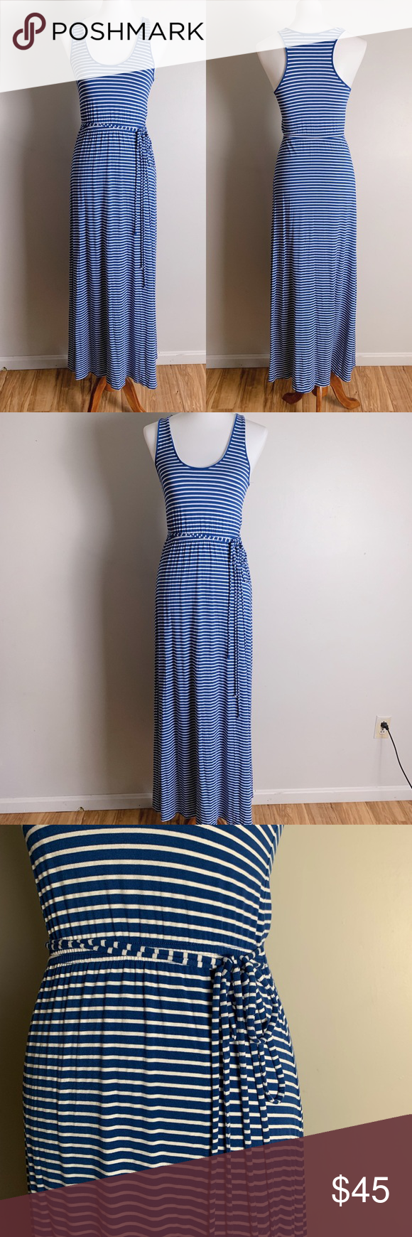 4eee35750e9 J. CREW Striped Maxi Dress with Tie-Waist Vibe  the perfect throw on ...