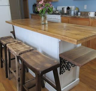 Vintage Built In Buffet Turned Into Cool Rustic Farmhouse Island