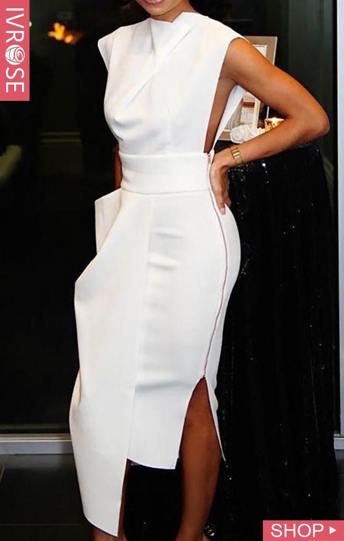 Photo of Solid Sleeveless Side Zipper Slit Irregular Dress