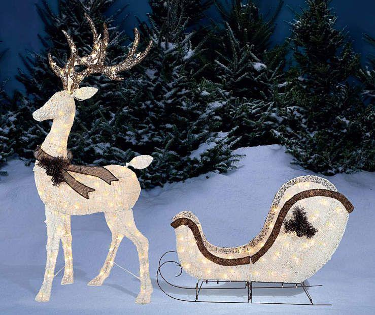 Christmas Deer Decorations Yard: Light-Up Deer & Sleigh, 2-Piece Set At Big Lots