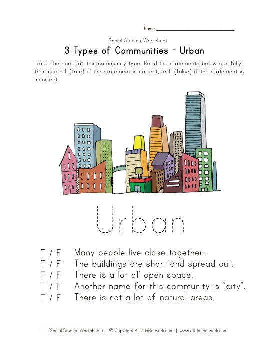 free urban community worksheet places to visit types of communities social studies worksheets. Black Bedroom Furniture Sets. Home Design Ideas