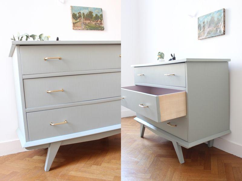 commode vintage pieds compas gris pigeon mobilier enfant TRENDY - repeindre un meuble en chene