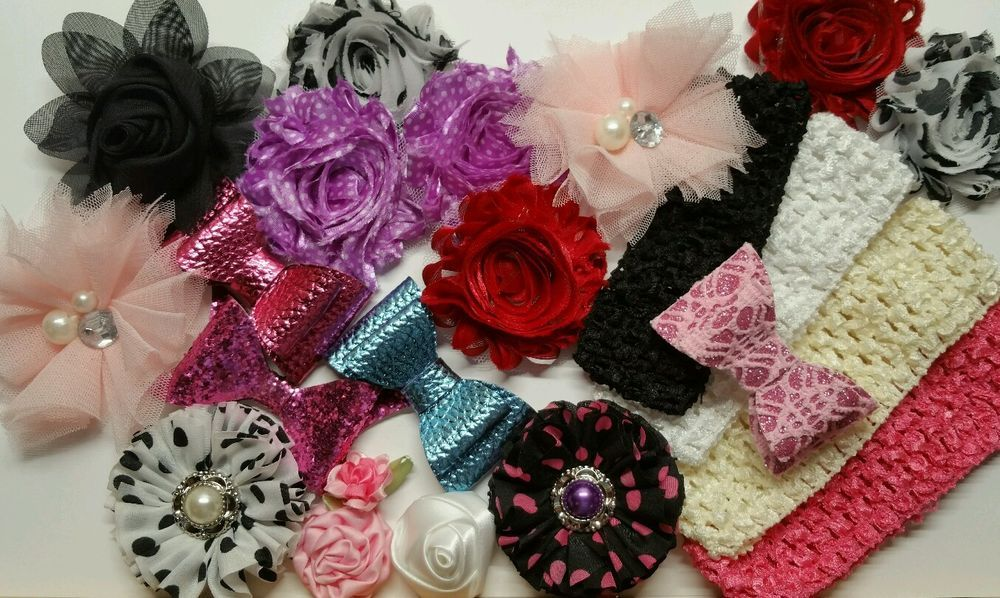 Mixed Lot Headband Kits,shabby Flowers Rose Sequined Bow Knot  #Unbranded