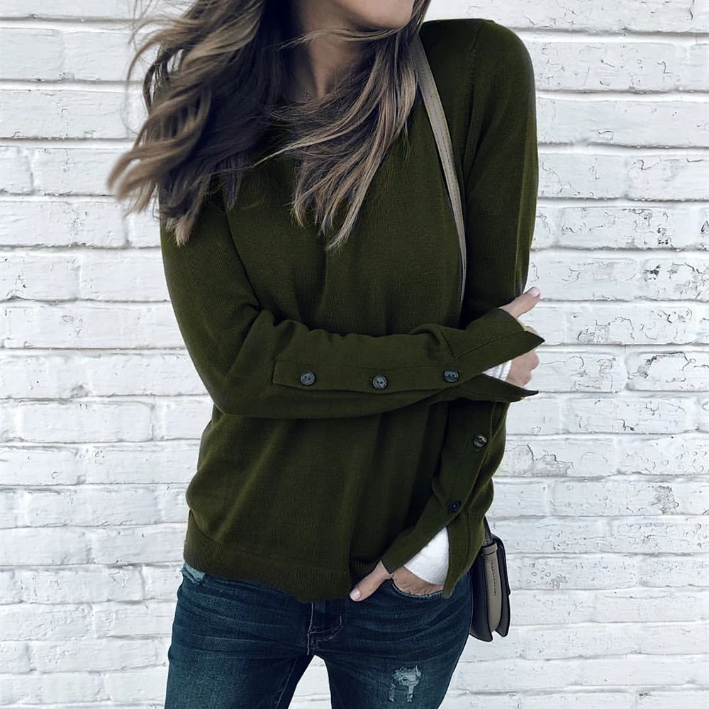 2019 Autumn Female Solid Knitted Sweater Casual Women's Long