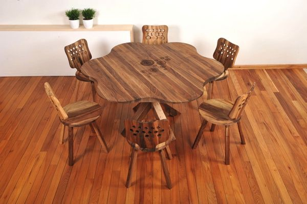 incredible dining set contain of wooden dining table and six wooden dining chairs