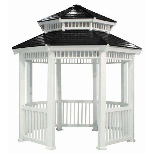 Suncast 10 Foot Gazebo by Suncast. $2127.99. Octagon shaped white gazebo compliments any backyard. Slate look double roof design. Measures 135 by 135 by 133-inches ; 725 pounds; maintenance free. Durable PVC construction will not splinter, rot, crack or require painting. Decorative railing and accent on roof. 10' Gazebo