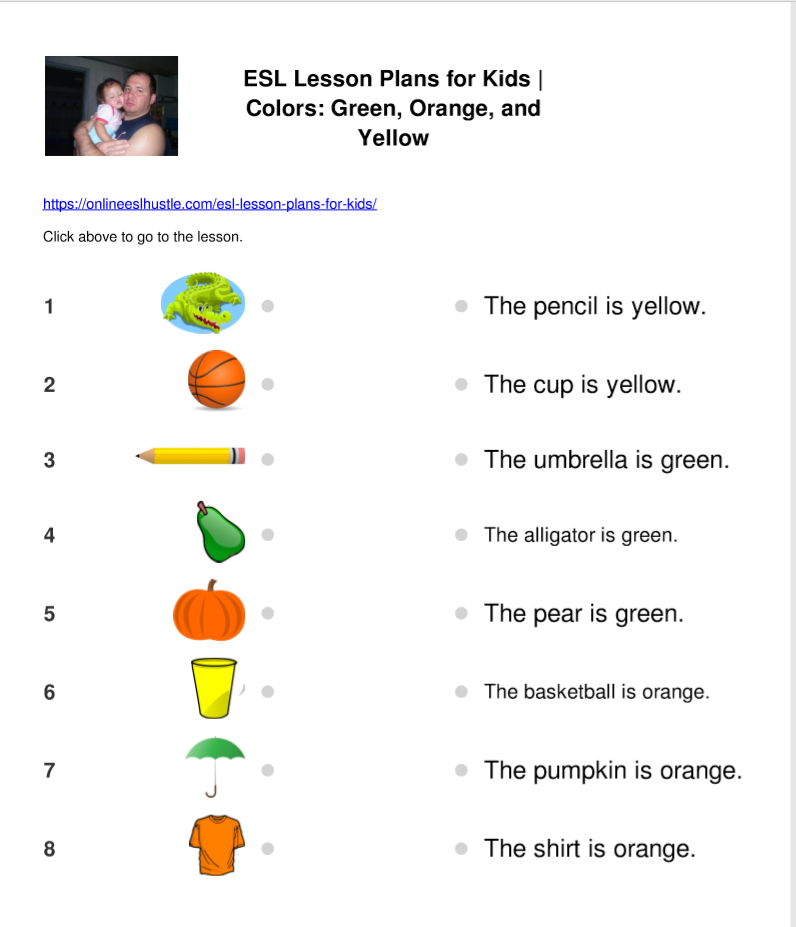 This ESL worksheet is about green, orange, and yellow