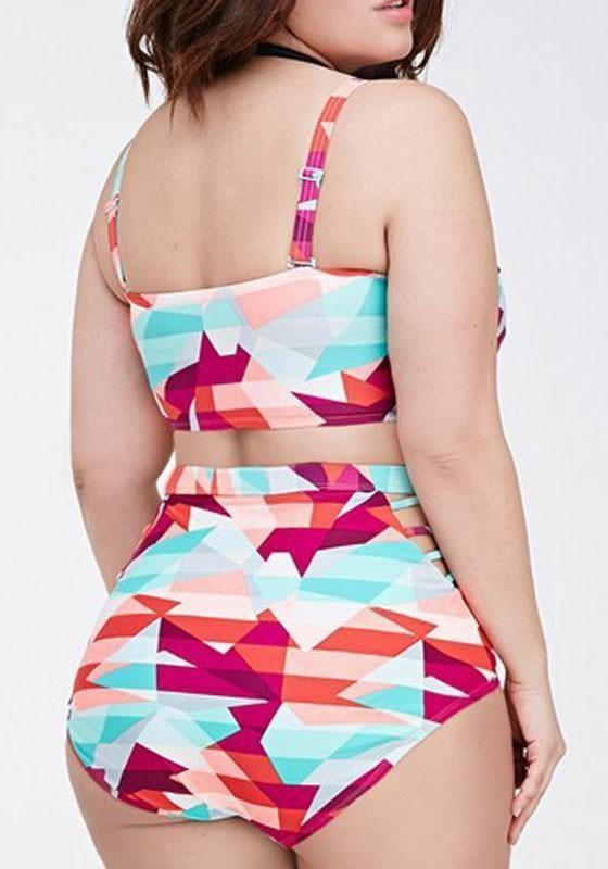 b70777ebc6 Colorful Geometric Print Open Back Plus Size Two Piece Fashion Bikini  Swimwear