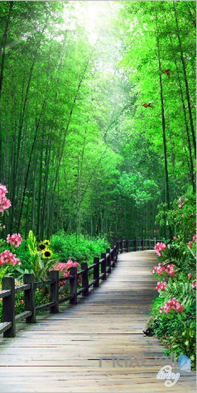 3D Bamboo Tree Flower Lane Corridor Entrance Wall Mural