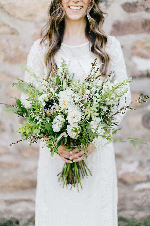 Lush green wedding with a boho twist simple green and white bouquet httpruffledbloglush izmirmasajfo