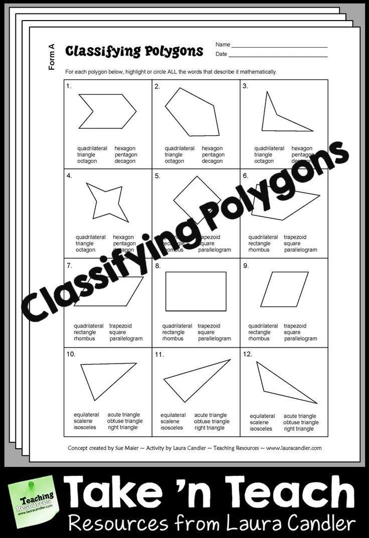 Worksheets Classifying Polygons Worksheet classifying polygons practice or test classroom printables practices tests are you required to teach specific quadrilateral and triangle concepts