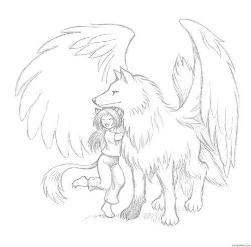 Image via We Heart It https://weheartit.com/entry/125767305/via/23283491 #draw #drawings #girl #sketch #wings #wolf #friends