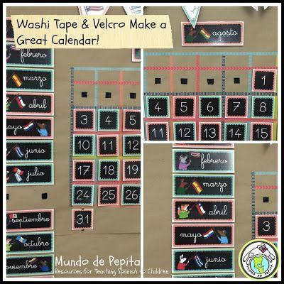 Using Washi Tape & Velcro to Make My Calendar | SPANISH
