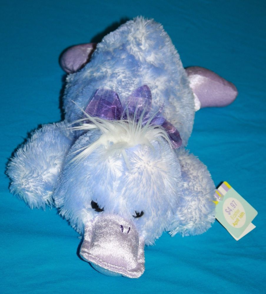 "Walmart Plush Purple Blue EASTER LYING DUCK 15"" Soft Toy"