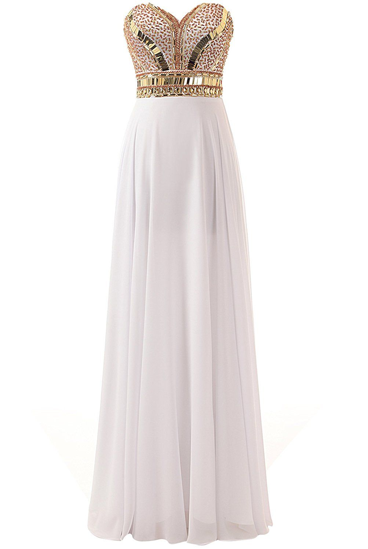 Changjie womenus sweetheart beaded chiffon prom dresses formal