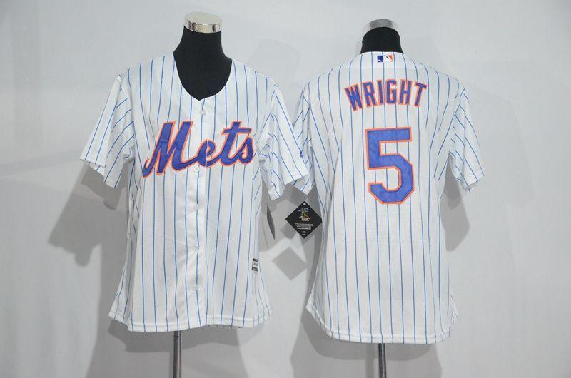 new arrival e89d2 4eb8c Womens 2017 MLB New York Mets 5 Wright White Jerseys,cheap ...