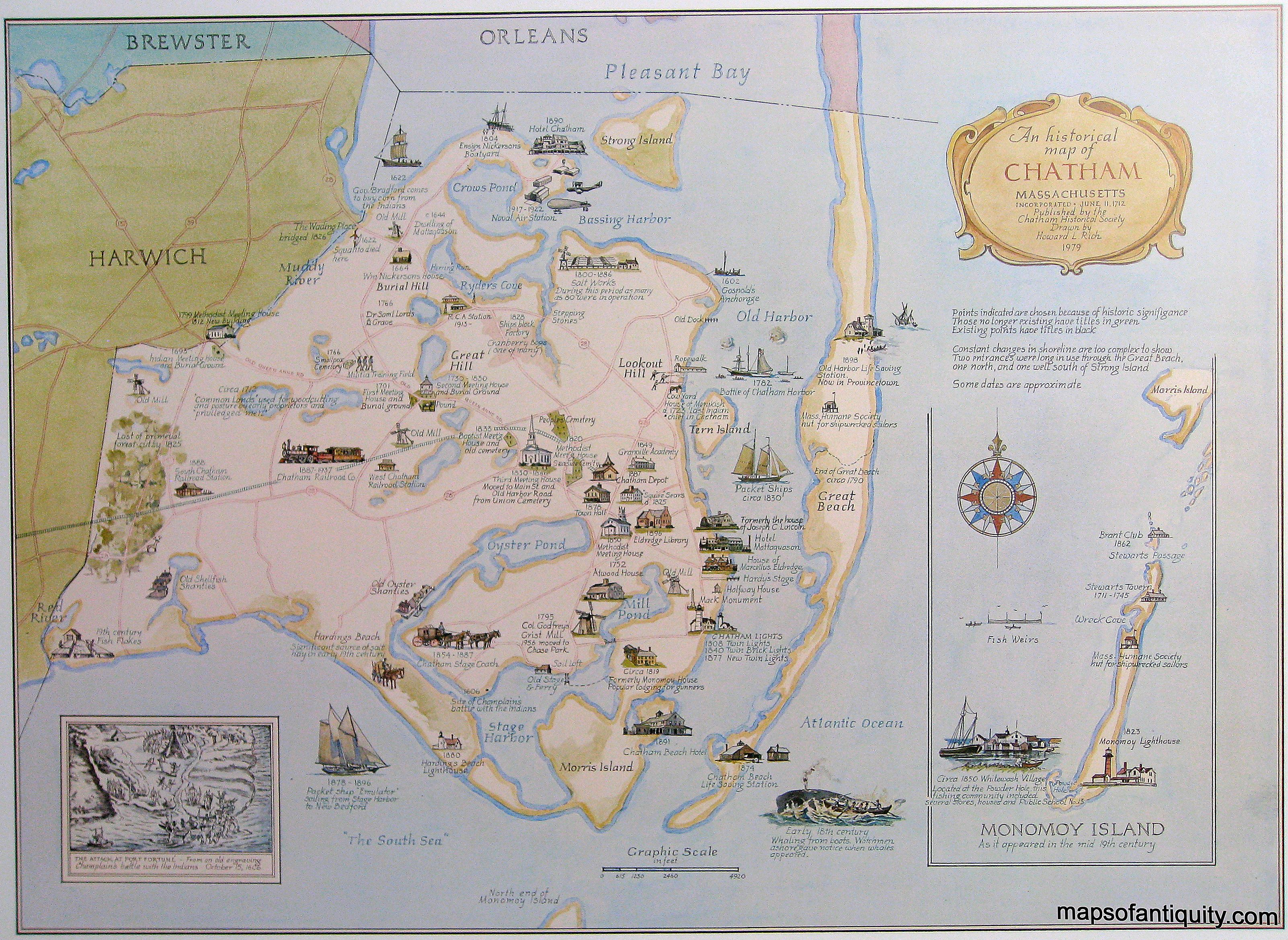 Historical Map Of Chatham, Ma Drawn By Howard Rich And