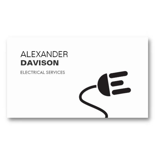 Electrician Logo Modern Business Card Ii Zazzle Com In 2020 Modern Business Cards Electrician Logo Cool Business Cards