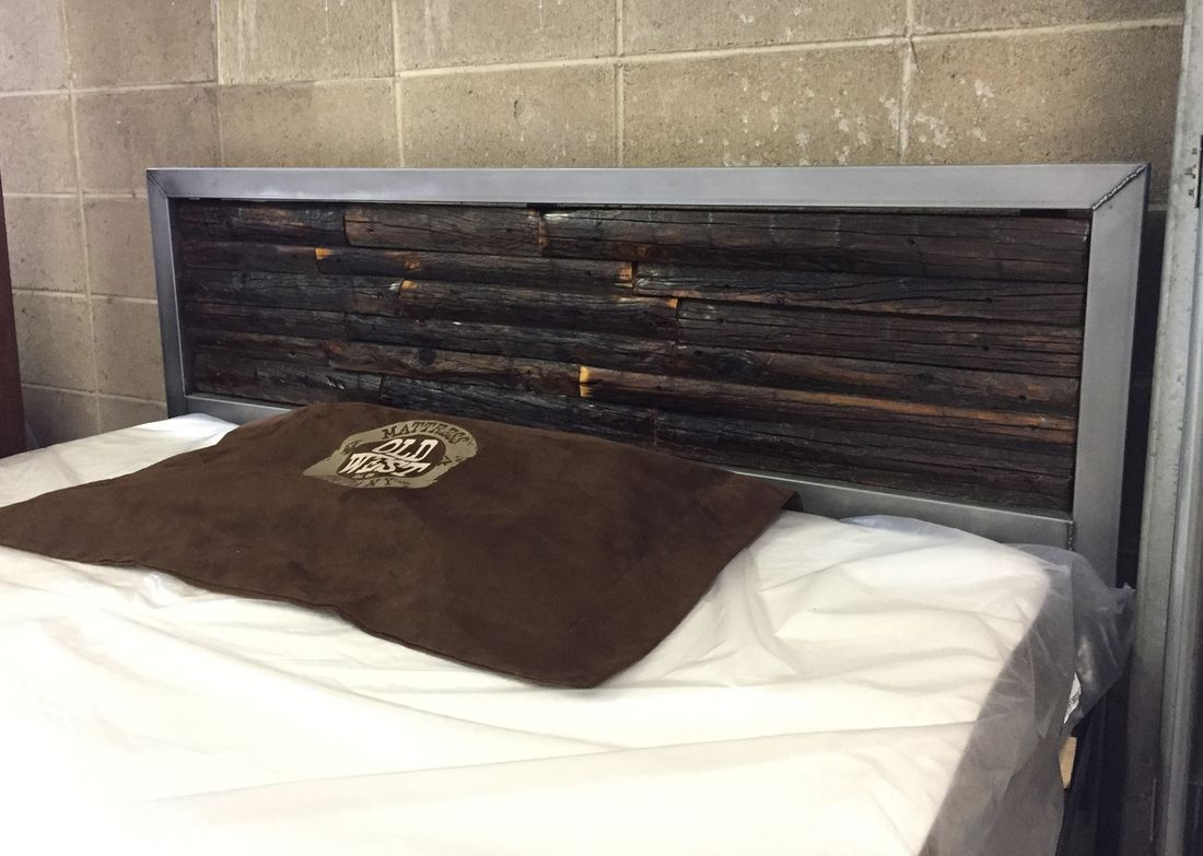 Metal Platform Bed With Dark Wood Headboard Locally Made In