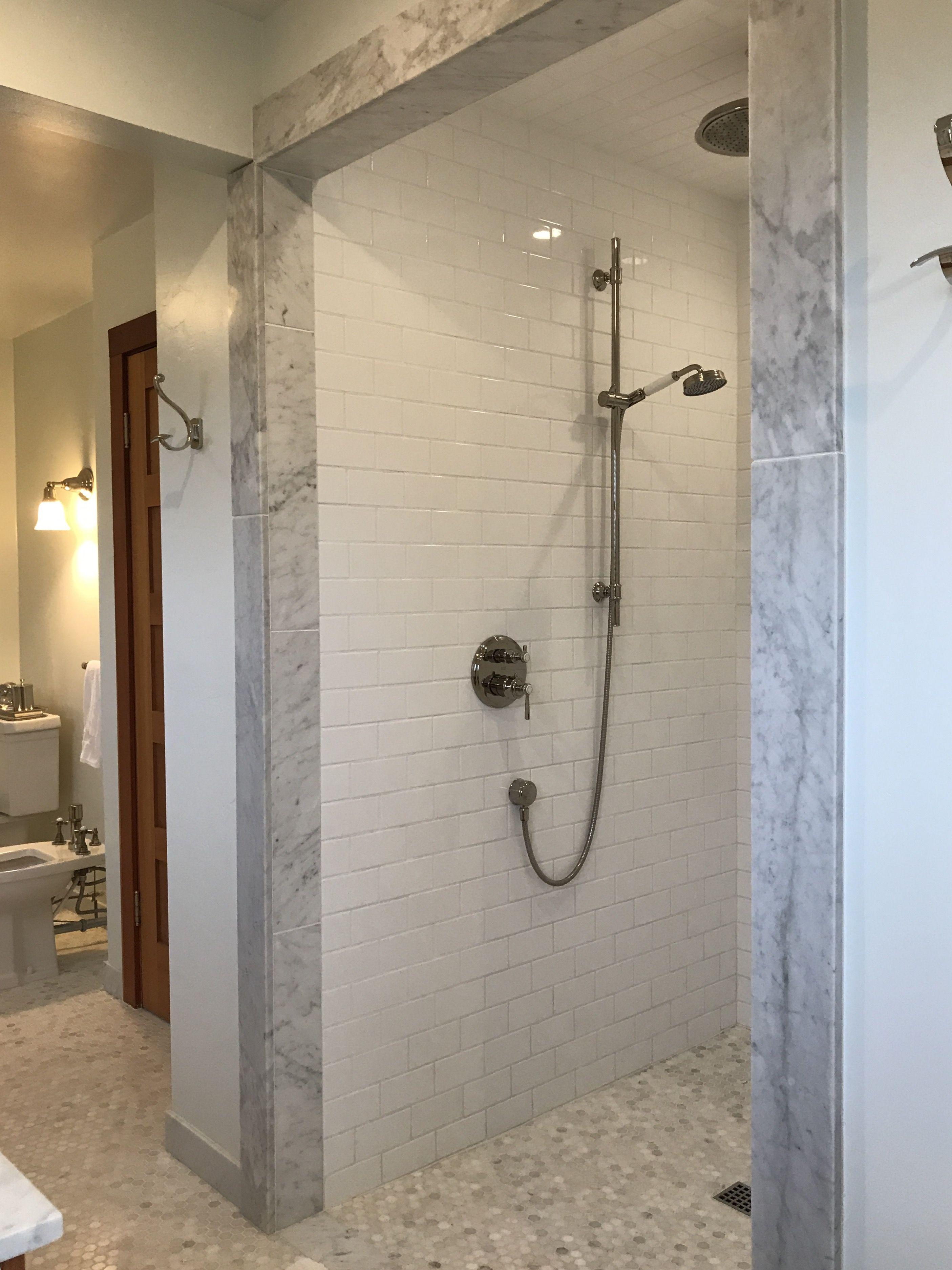 Marble Master Bathroom Walk In Shower No Lip No Curtain No Door Love It Shower Tub Walk In Shower Master