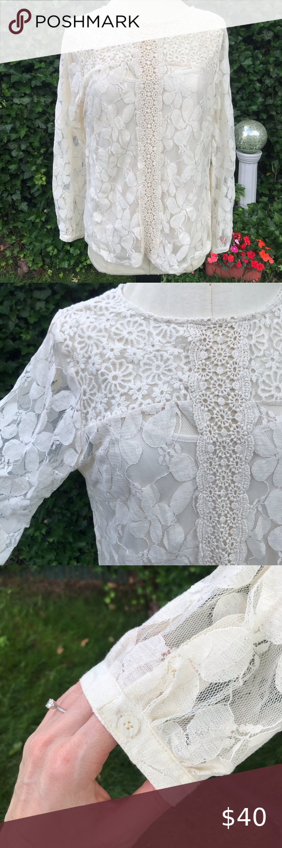 Nwt Adiva Lace Top Lace Blouse Long Sleeve White Lace Top Sleeveless Lace Top [ 1740 x 580 Pixel ]