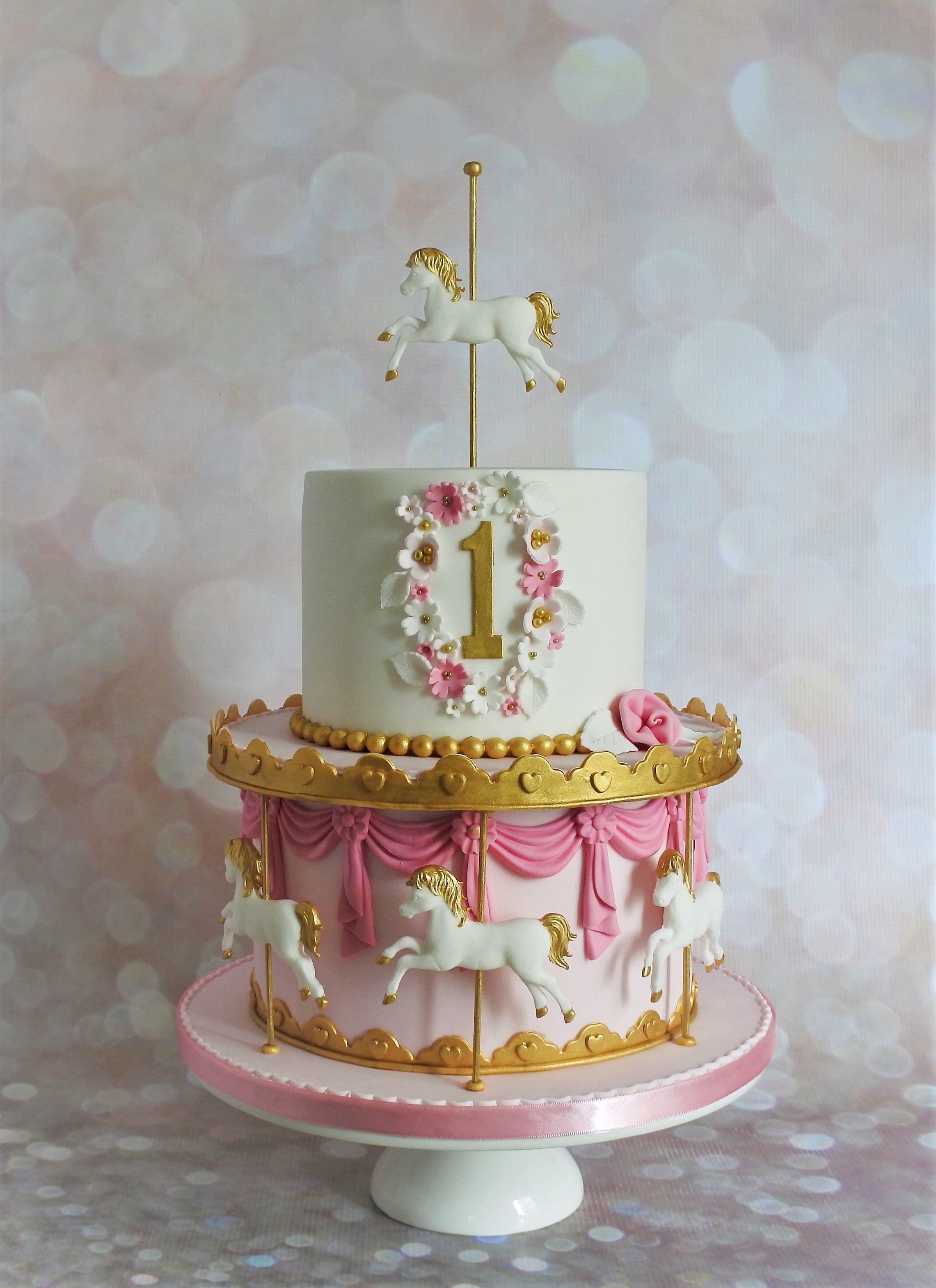 Awesome Pink Carousel 1St Birthday Cake Carousel Cake 1St Birthday Cake Funny Birthday Cards Online Alyptdamsfinfo