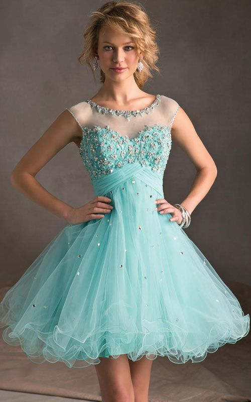 Aqua Lace Beading Short dress With See Thru Sheer... | FORMAL GOWNS ...