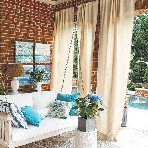 Amazing Outdoor Drapes From Ballard Designs With Sunbrella Fabric To Resist Fading.