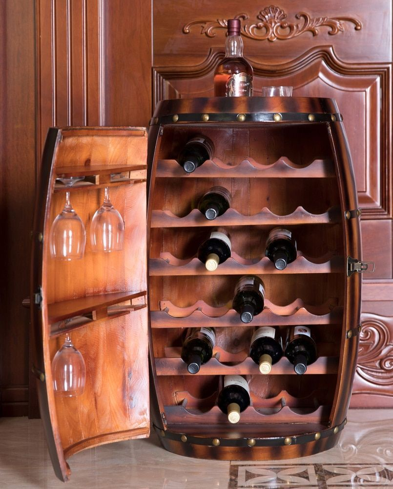 Wooden Wine Barrel Bar Cabinet End Table With Latch 27 Bottle Decorative Wine Holder Wine Barrel Bar Barrel Bar Wine Barrel Furniture