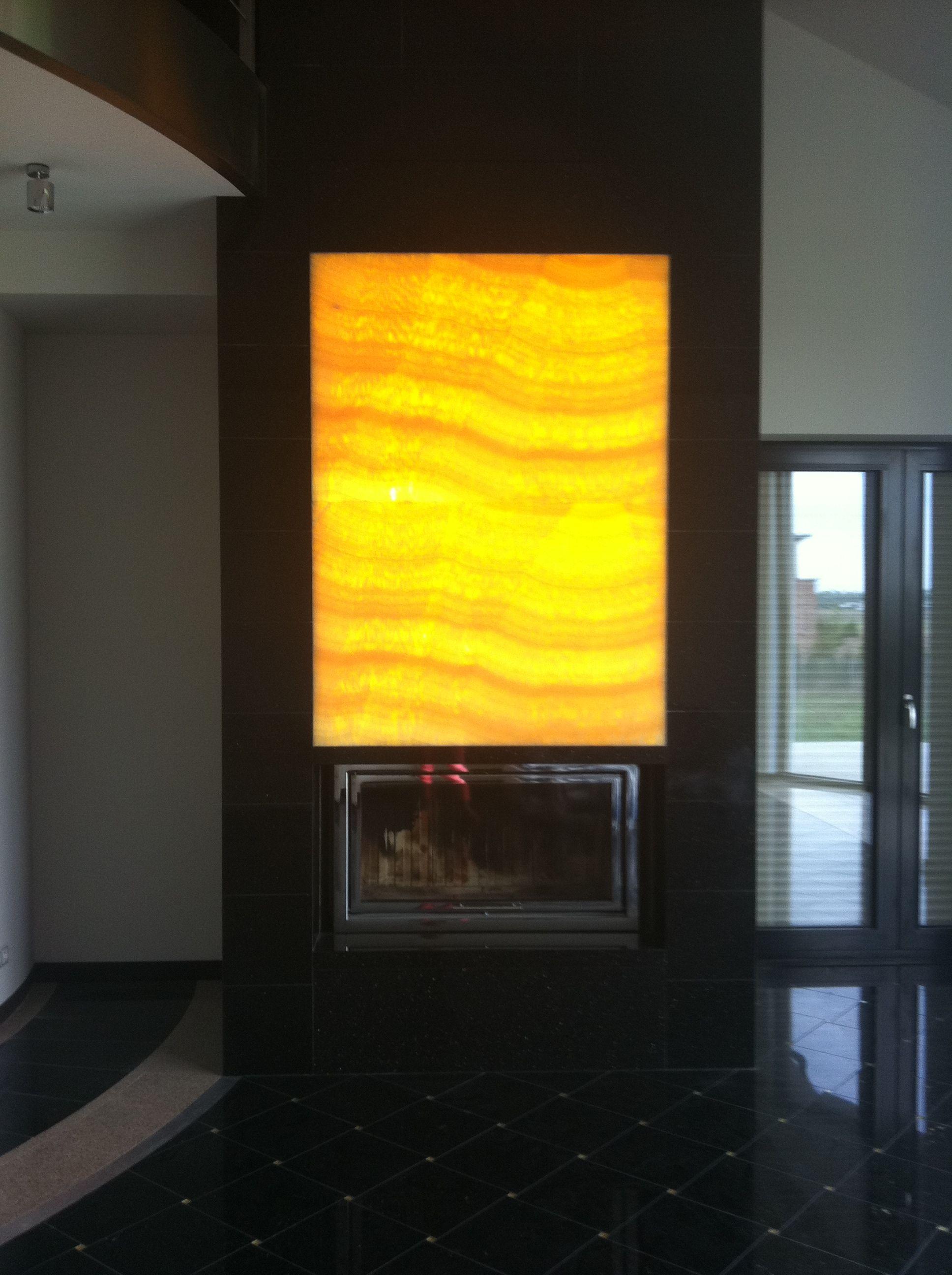 Honey Onyx and black granite fireplace www.darsin.eu   Stone ...