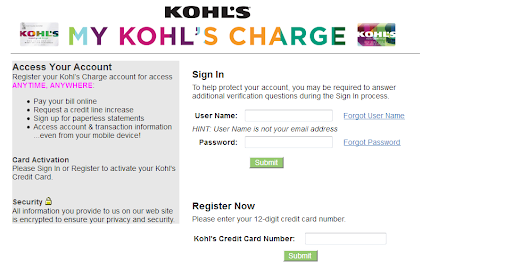 Kohls Credit Card Login After Receiving Your Kohl S Credit Card In The Mail You Will Be Required To Activate The Credit Card Application Credit Card Visa Card