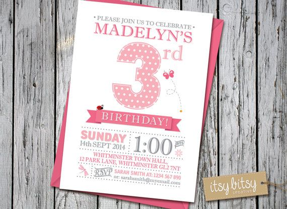 PRINTABLE 3rd Birthday Invitation - Garden Party, 1st, 2nd, 3rd or 4th Birthday Party 6x4 or 5x7 blue, pink, green, orange purple