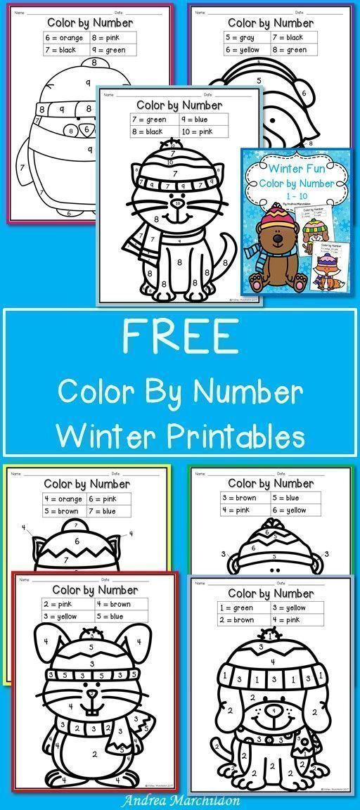 These FREE Color by Number Winter Worksheet Printables are great ...
