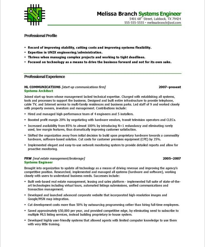 Systems Engineer-Page1 IT Resume Samples Pinterest Free - system engineer resume