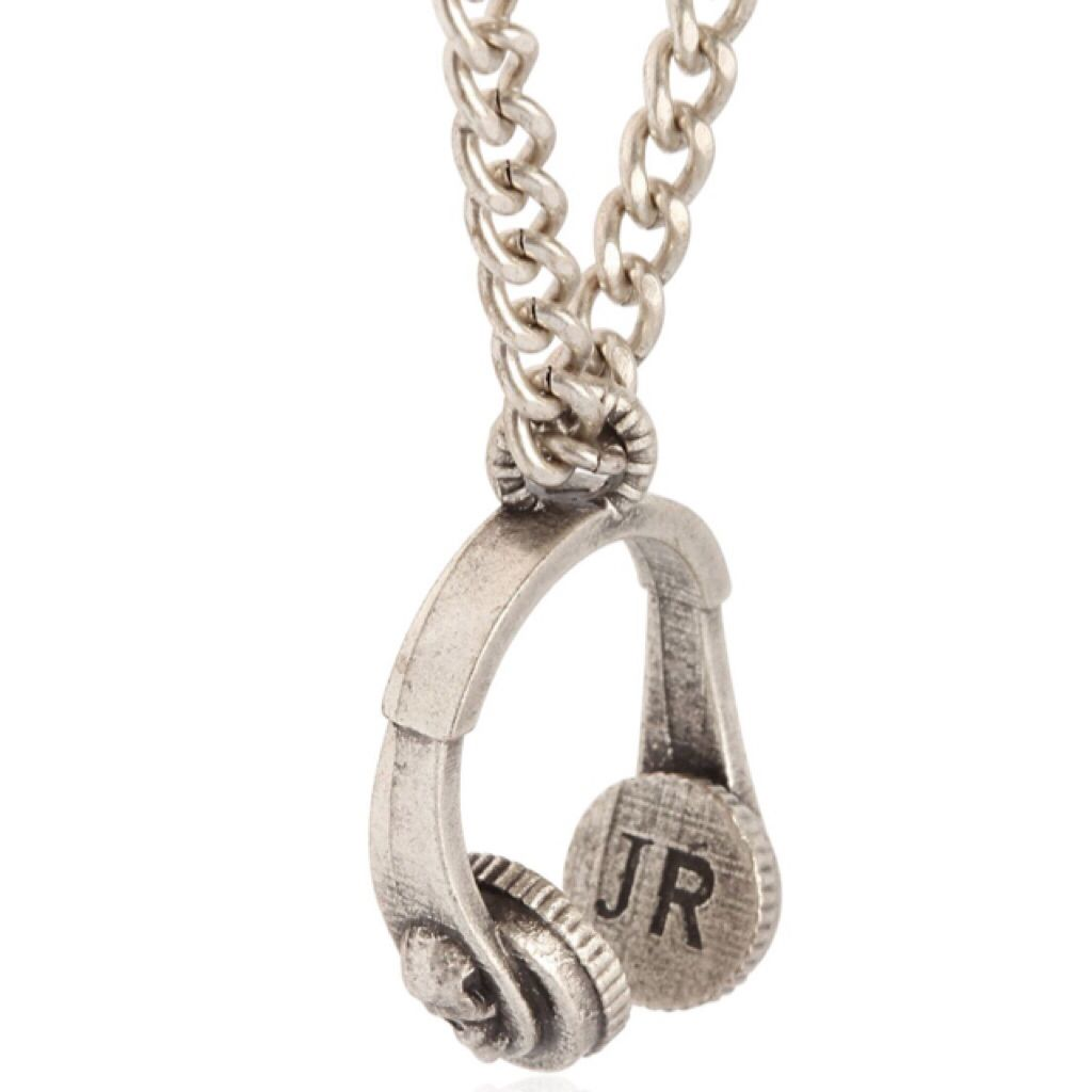John Richmond #skull #headphones pendant necklace -CLICK TO SHOP IT https://www.theshopally.com/sophie-etchart/20160207/john-richmond-skull-headphones-pendant-necklace-cl