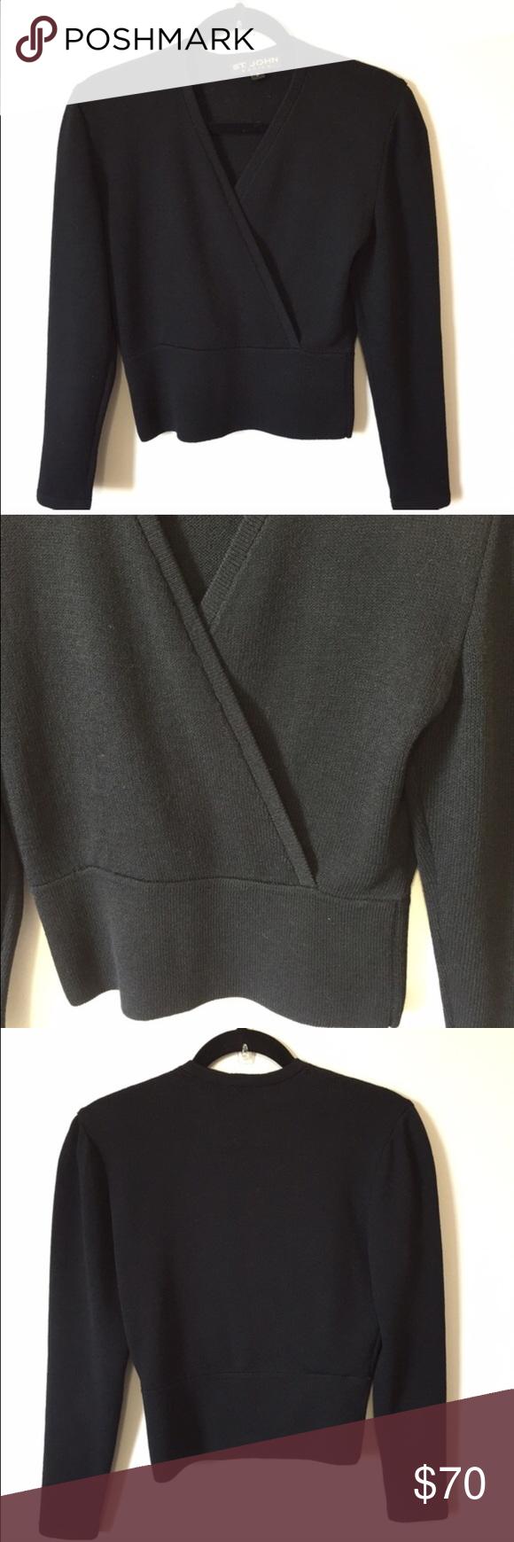 St John Faux Wrap Knit Top Size petite Hits above hip Long sleeve