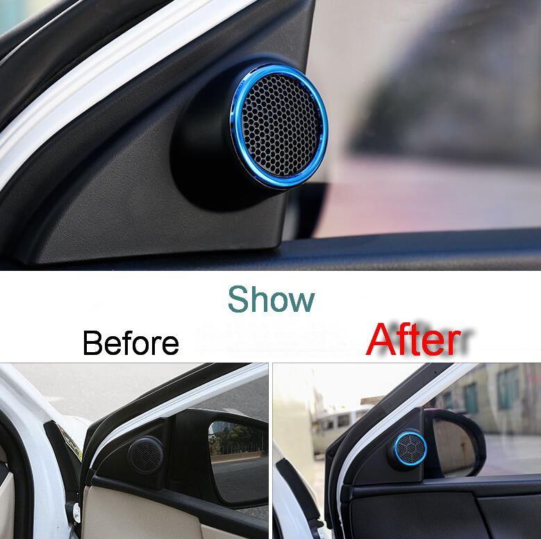 2 Pcs Diy Car Styling Stainless Steel Tweeter Speaker