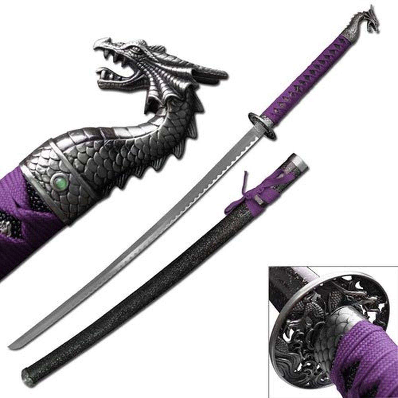 Blue Katana w// Purple Dragon Sword /& Sheath Stainless Steel Martial Arts Weapon