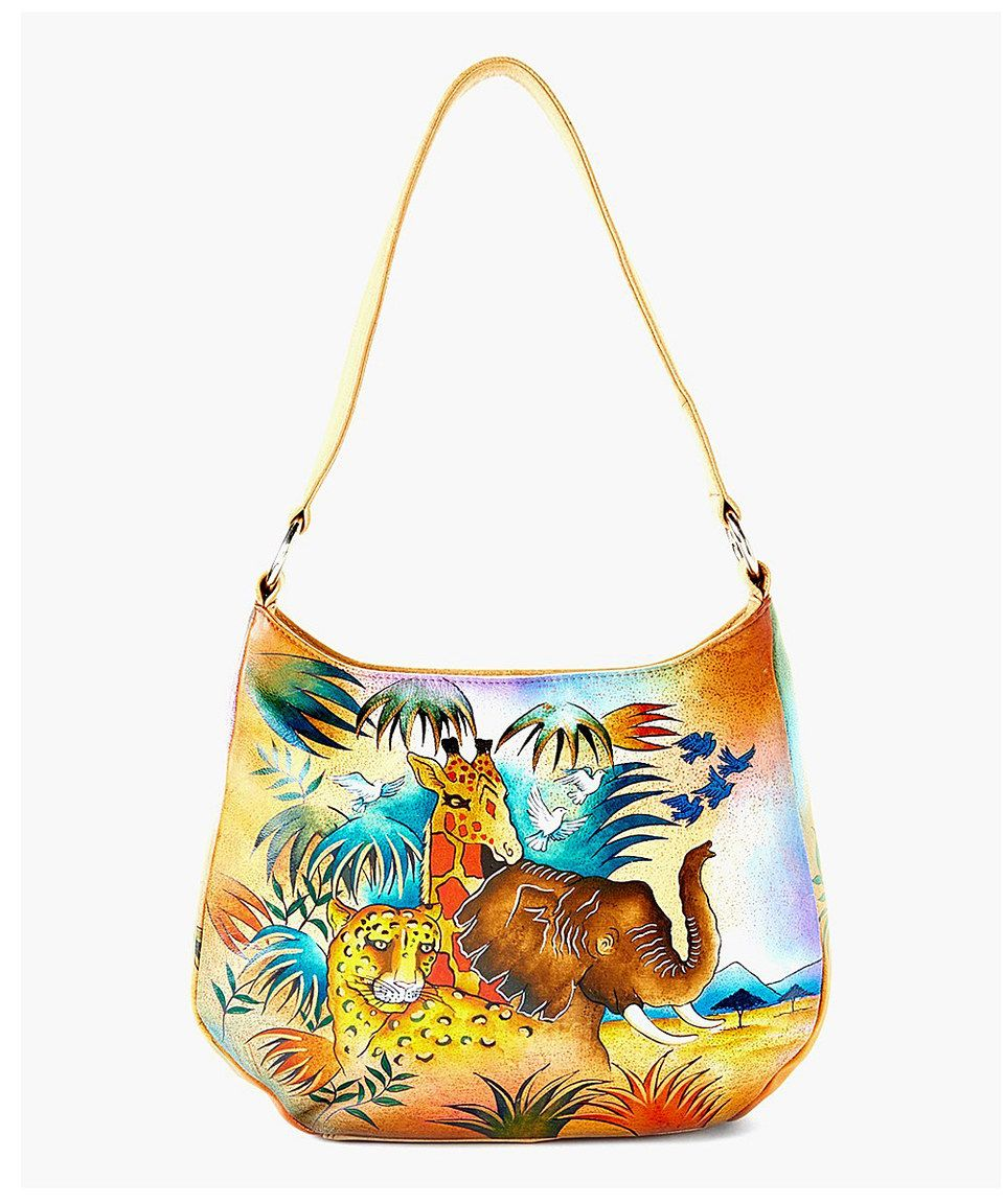 Another great find on #zulily! Brown & Blue Jungle Hand-Painted Leather Hobo by Biacci #zulilyfinds