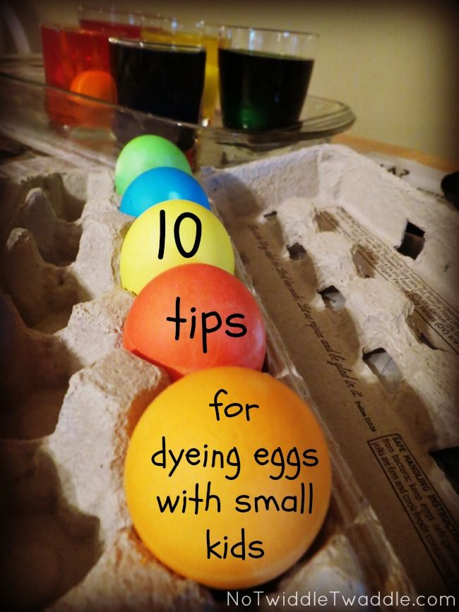A little nervous about containers of open dye? Here are 10 tips on how to make dyeing eggs with small kids a fun experience (with zero disasters!): No Twiddle Twaddle