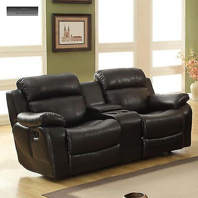 New Black Leather Loveseat Sofa Double Glider Recliner Cup Holder