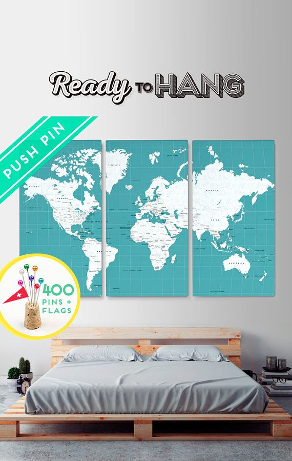 Canvas set 3 world map ocean color ready to hang canvas wrap canvas set 3 world map ocean color ready to hang canvas wrap choose gumiabroncs Images