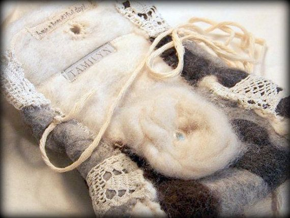 Fiber WalletOrganic ALPACA and OLD LACE Grey Ivory by tamilyn, $24.99