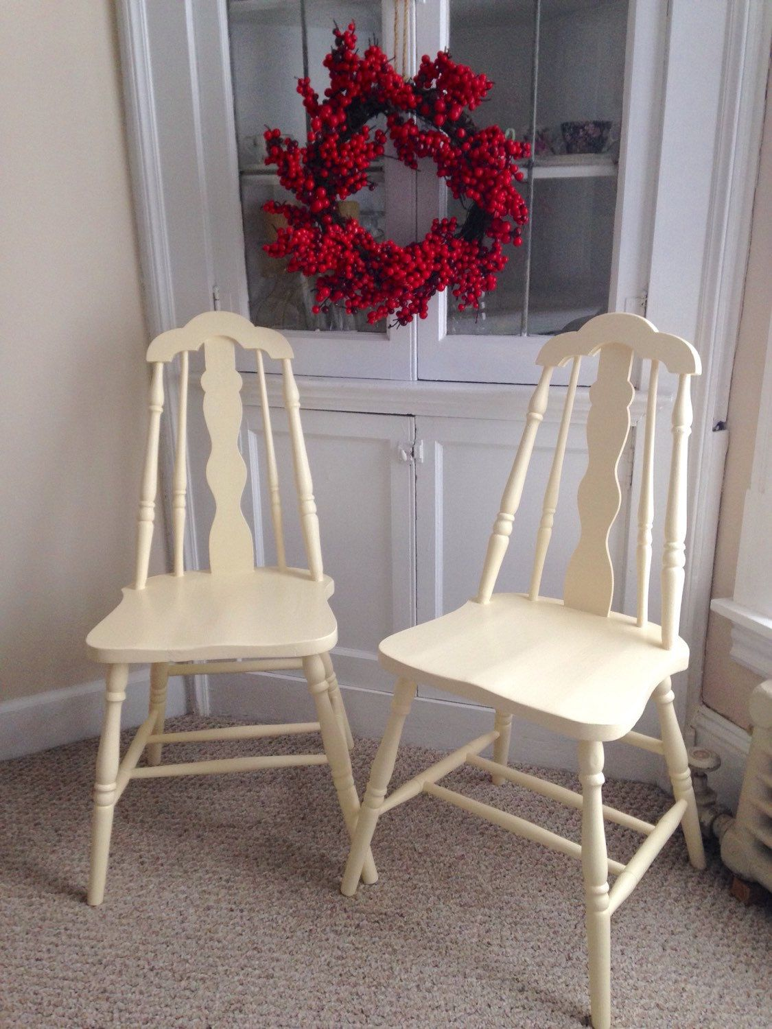 On hold for purchase two vintage kitchen chairs wooden chairs