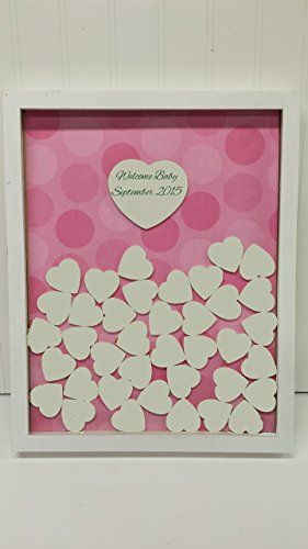 Unique Baby Shower Sign and Drop in Frame with Painted Hearts ** For more information, visit image link.