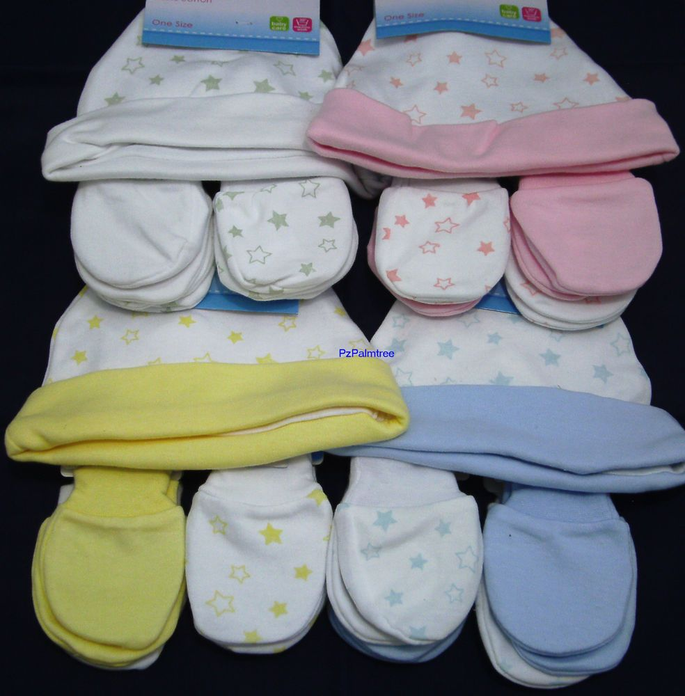 a3389a338 Details about Baby Hat and 2 Pairs Scratch Mittens 100% Cotton ...