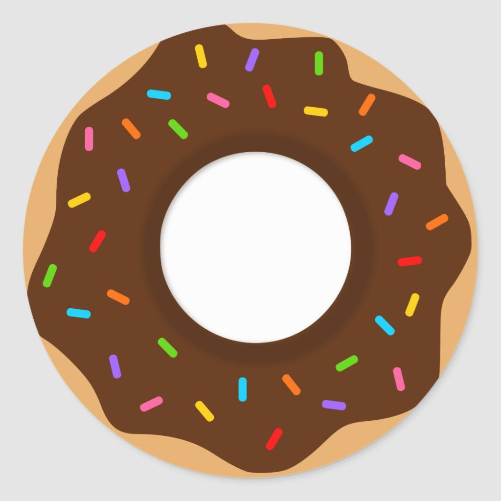 Rainbow Sprinkles Chocolate Donut Classic Round Sticker Zazzle Com Rainbow Sprinkles Chocolate Donuts Donut Party